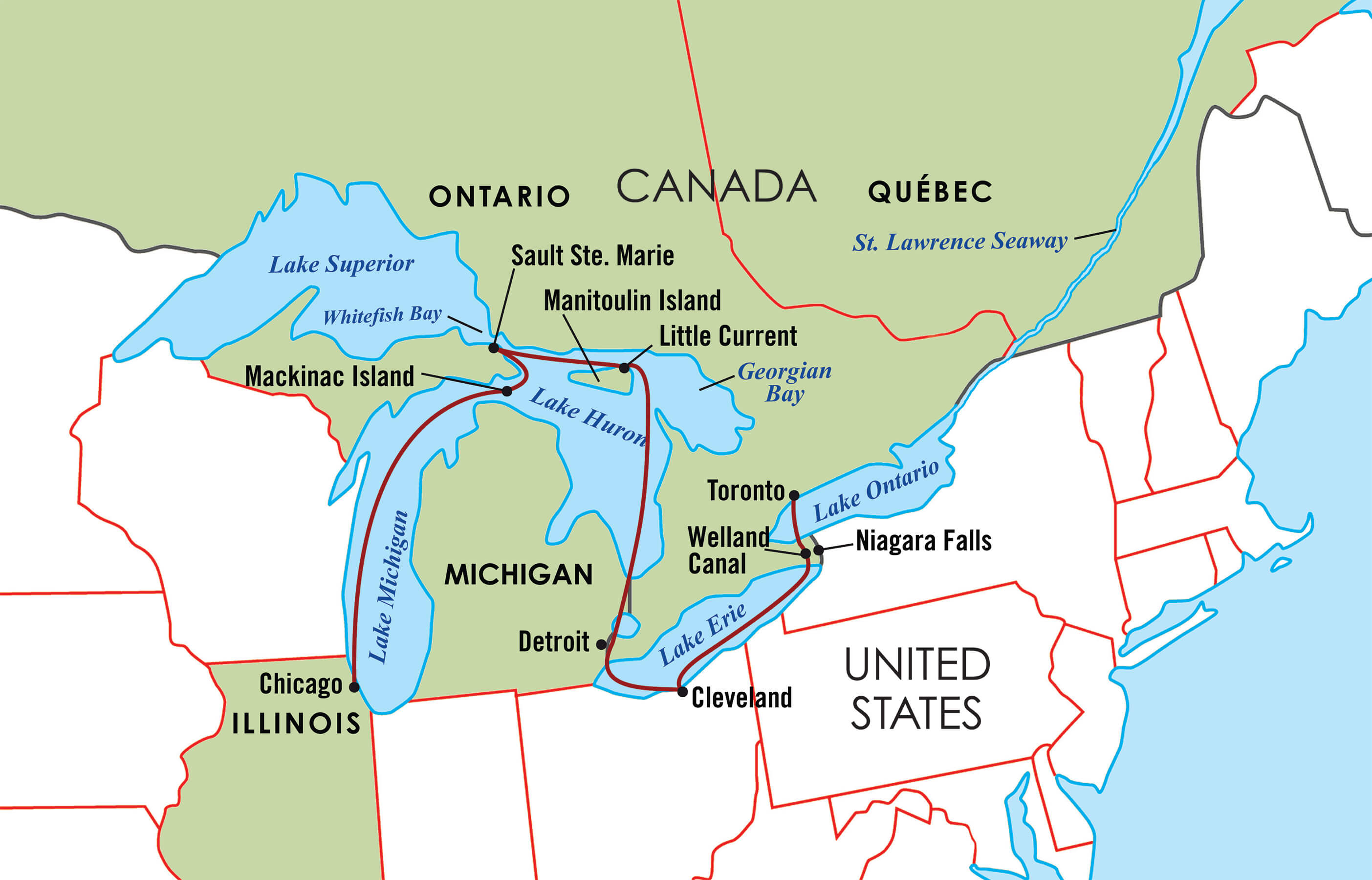 Majestic Great Lakes Cruise Map | Go Next